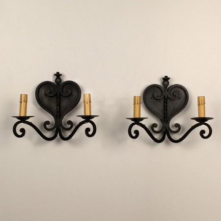 French Iron Heart Sconces
