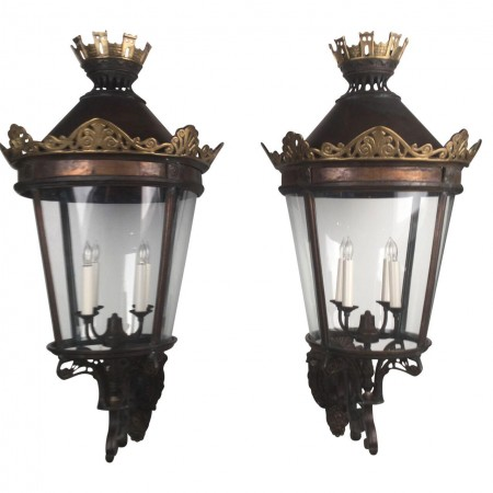 Large Pair of French Wall Lanterns